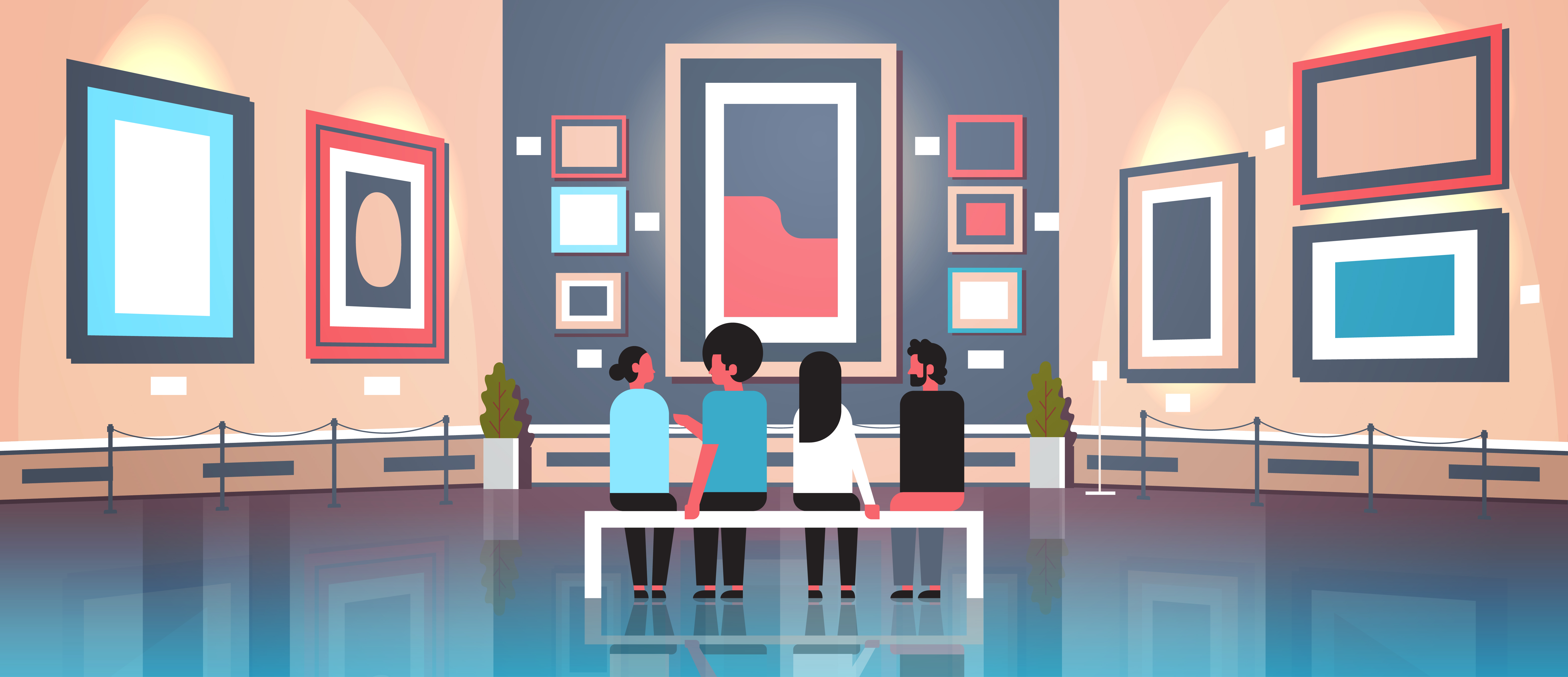 people tourists visitors in modern art gallery museum interior sitting on bench looking contemporary paintings artworks or exhibits horizontal banner vector illustration